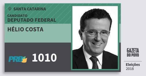 Santinho Hélio Costa 1010 (PRB) Deputado Federal | Santa Catarina | Eleições 2018