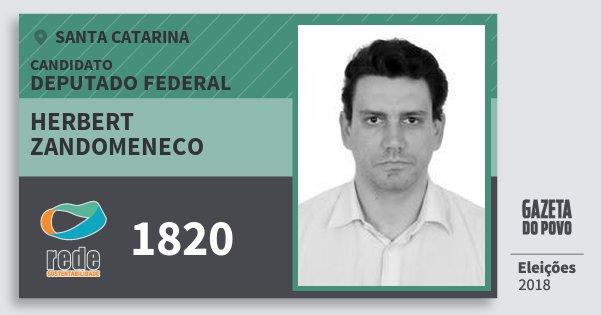 Santinho Herbert Zandomeneco 1820 (REDE) Deputado Federal | Santa Catarina | Eleições 2018