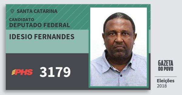 Santinho Idesio Fernandes 3179 (PHS) Deputado Federal | Santa Catarina | Eleições 2018