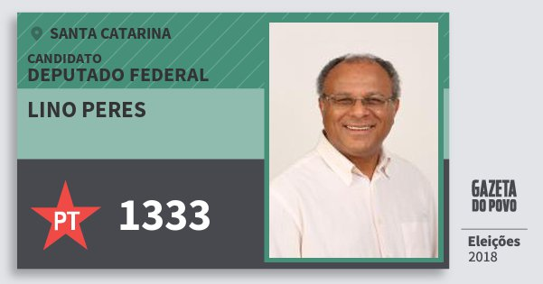 Santinho Lino Peres 1333 (PT) Deputado Federal   Santa Catarina   Eleições 2018