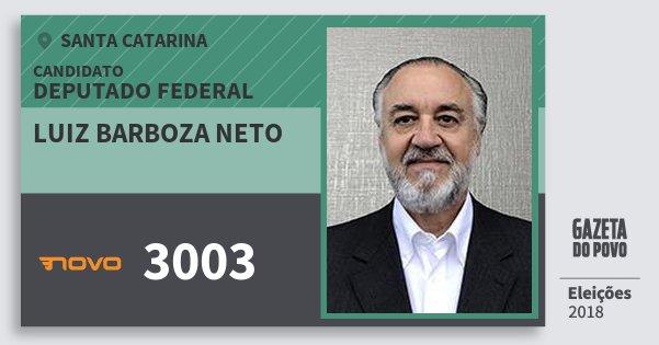 Santinho Luiz Barboza Neto 3003 (NOVO) Deputado Federal   Santa Catarina   Eleições 2018