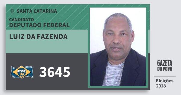 Santinho Luiz da Fazenda 3645 (PTC) Deputado Federal | Santa Catarina | Eleições 2018