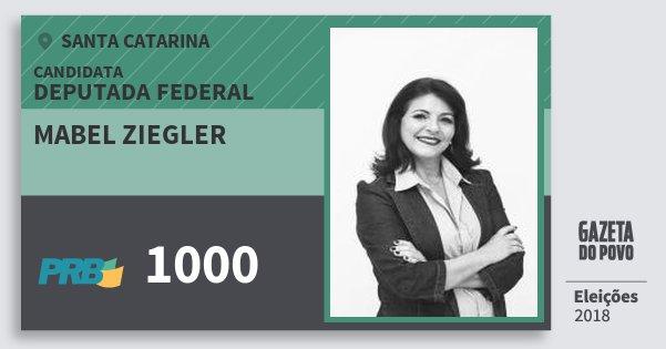 Santinho Mabel Ziegler 1000 (PRB) Deputada Federal   Santa Catarina   Eleições 2018
