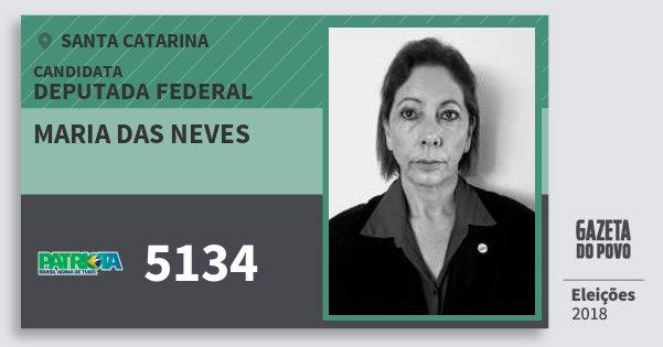 Santinho Maria das Neves 5134 (PATRI) Deputada Federal | Santa Catarina | Eleições 2018