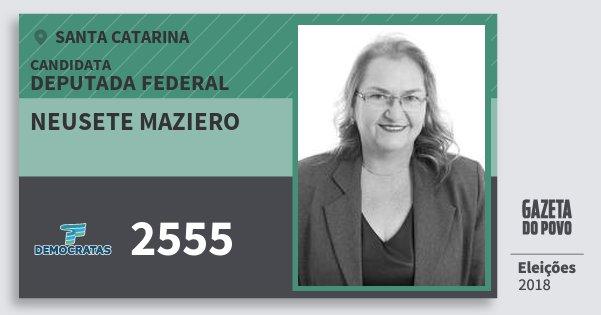Santinho Neusete Maziero 2555 (DEM) Deputada Federal | Santa Catarina | Eleições 2018