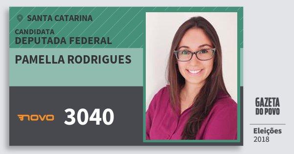 Santinho Pamella Rodrigues 3040 (NOVO) Deputada Federal | Santa Catarina | Eleições 2018