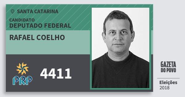 Santinho Rafael Coelho 4411 (PRP) Deputado Federal | Santa Catarina | Eleições 2018
