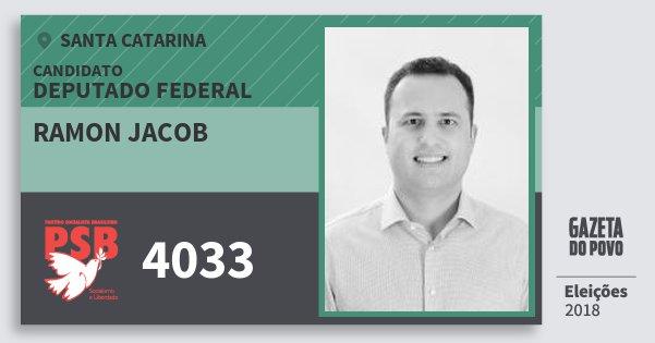 Santinho Ramon Jacob 4033 (PSB) Deputado Federal | Santa Catarina | Eleições 2018