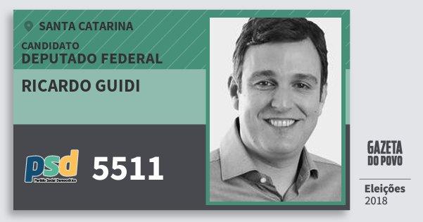 Santinho Ricardo Guidi 5511 (PSD) Deputado Federal | Santa Catarina | Eleições 2018