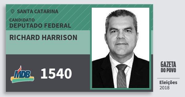 Santinho Richard Harrison 1540 (MDB) Deputado Federal | Santa Catarina | Eleições 2018