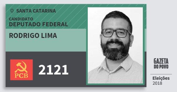 Santinho Rodrigo Lima 2121 (PCB) Deputado Federal | Santa Catarina | Eleições 2018