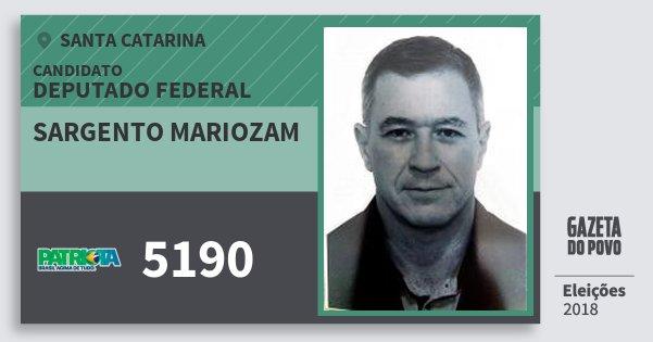 Santinho Sargento Mariozam 5190 (PATRI) Deputado Federal | Santa Catarina | Eleições 2018