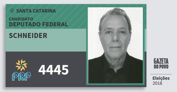 Santinho Schneider 4445 (PRP) Deputado Federal | Santa Catarina | Eleições 2018