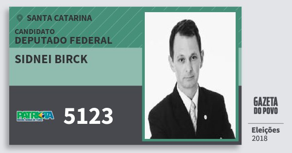 Santinho Sidnei Birck 5123 (PATRI) Deputado Federal | Santa Catarina | Eleições 2018