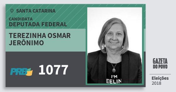 Santinho Terezinha Osmar Jerônimo 1077 (PRB) Deputada Federal | Santa Catarina | Eleições 2018