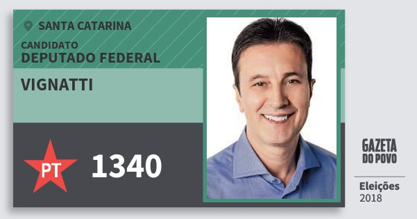 Santinho Vignatti 1340 (PT) Deputado Federal | Santa Catarina | Eleições 2018