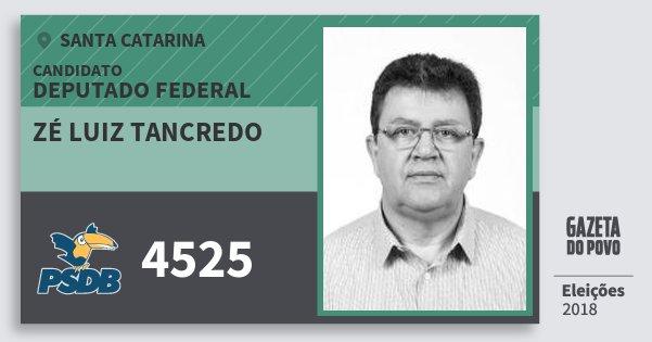 Santinho Zé Luiz Tancredo 4525 (PSDB) Deputado Federal | Santa Catarina | Eleições 2018