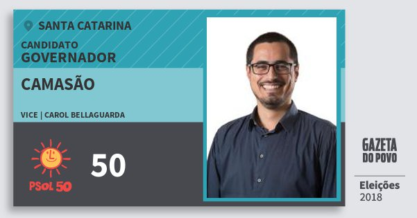 Santinho Camasão 50 (PSOL) Governador | Santa Catarina | Eleições 2018