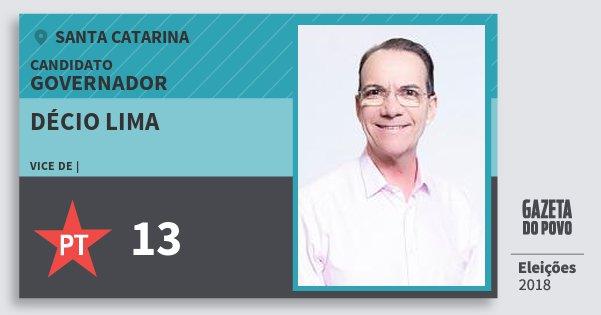 Santinho Décio Lima 13 (PT) Governador   Santa Catarina   Eleições 2018