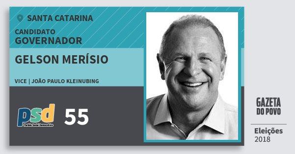 Santinho Gelson Merísio 55 (PSD) Governador | Santa Catarina | Eleições 2018