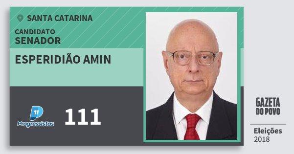 Santinho Esperidião Amin 111 (PP) Senador | Santa Catarina | Eleições 2018