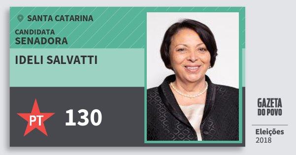 Santinho Ideli Salvatti 130 (PT) Senadora | Santa Catarina | Eleições 2018
