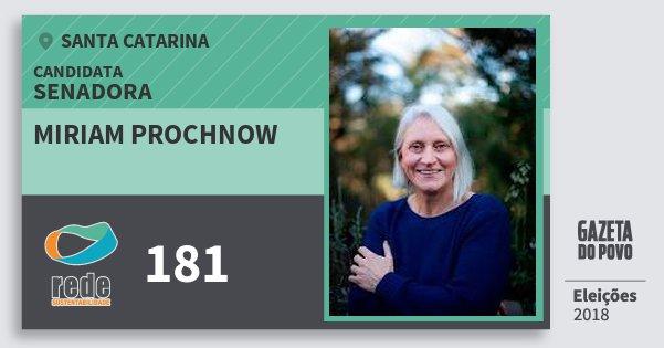 Santinho Miriam Prochnow 181 (REDE) Senadora | Santa Catarina | Eleições 2018
