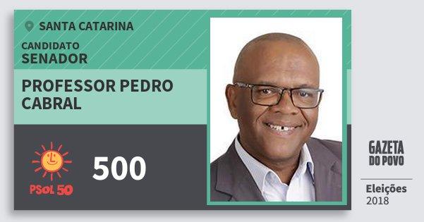Santinho Professor Pedro Cabral 500 (PSOL) Senador | Santa Catarina | Eleições 2018