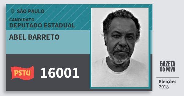 Santinho Abel Barreto 16001 (PSTU) Deputado Estadual | São Paulo | Eleições 2018