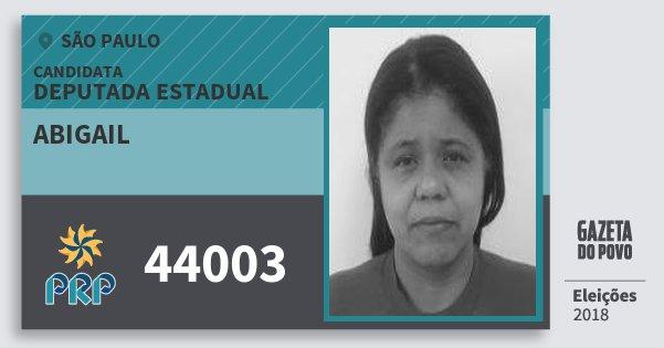 Santinho Abigail 44003 (PRP) Deputada Estadual | São Paulo | Eleições 2018