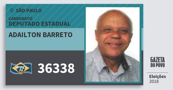 Santinho Adailton Barreto 36338 (PTC) Deputado Estadual | São Paulo | Eleições 2018