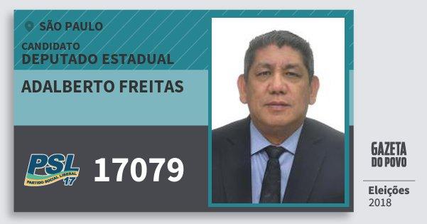 Santinho Adalberto Freitas 17079 (PSL) Deputado Estadual | São Paulo | Eleições 2018
