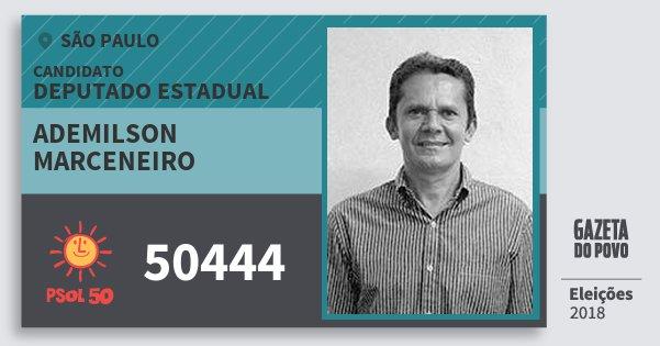 Santinho Ademilson Marceneiro 50444 (PSOL) Deputado Estadual | São Paulo | Eleições 2018