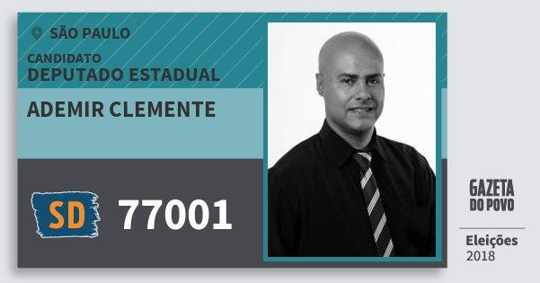 Santinho Ademir Clemente 77001 (SOLIDARIEDADE) Deputado Estadual | São Paulo | Eleições 2018