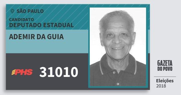 Santinho Ademir da Guia 31010 (PHS) Deputado Estadual | São Paulo | Eleições 2018