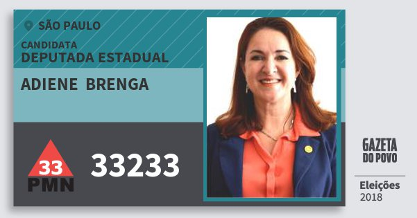 Santinho Adiene  Brenga 33233 (PMN) Deputada Estadual | São Paulo | Eleições 2018