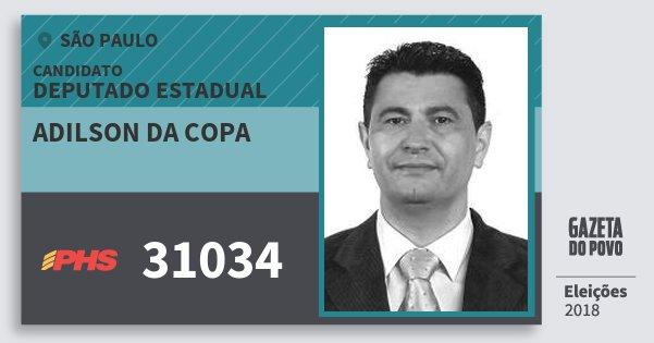 Santinho Adilson da Copa 31034 (PHS) Deputado Estadual | São Paulo | Eleições 2018