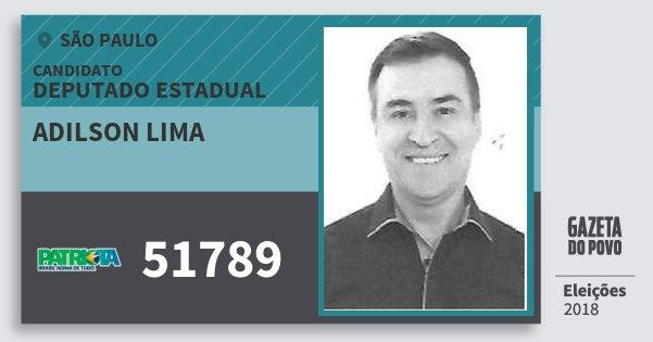 Santinho Adilson Lima 51789 (PATRI) Deputado Estadual | São Paulo | Eleições 2018