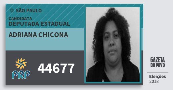 Santinho Adriana Chicona 44677 (PRP) Deputada Estadual | São Paulo | Eleições 2018