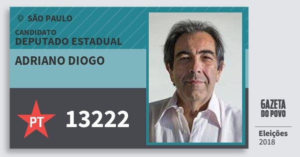 Santinho Adriano Diogo 13222 (PT) Deputado Estadual | São Paulo | Eleições 2018