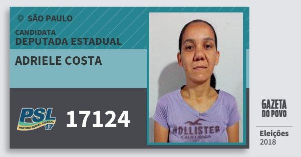 Santinho Adriele Costa 17124 (PSL) Deputada Estadual | São Paulo | Eleições 2018