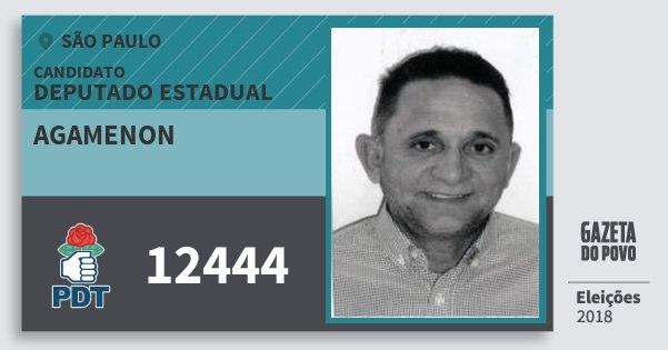 Santinho Agamenon 12444 (PDT) Deputado Estadual | São Paulo | Eleições 2018