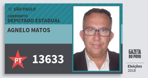 Santinho Agnelo Matos 13633 (PT) Deputado Estadual   São Paulo   Eleições 2018