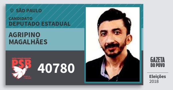 Santinho Agripino Magalhães 40780 (PSB) Deputado Estadual | São Paulo | Eleições 2018