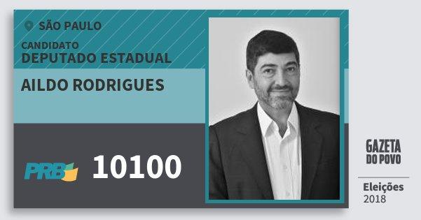 Santinho Aildo Rodrigues 10100 (PRB) Deputado Estadual | São Paulo | Eleições 2018