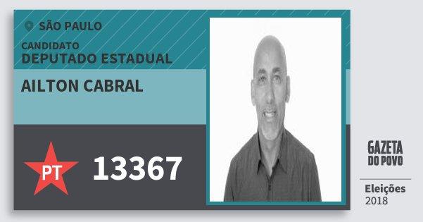 Santinho Ailton Cabral 13367 (PT) Deputado Estadual | São Paulo | Eleições 2018