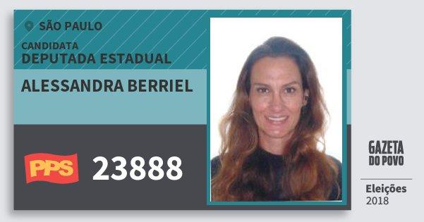 Santinho Alessandra Berriel 23888 (PPS) Deputada Estadual | São Paulo | Eleições 2018