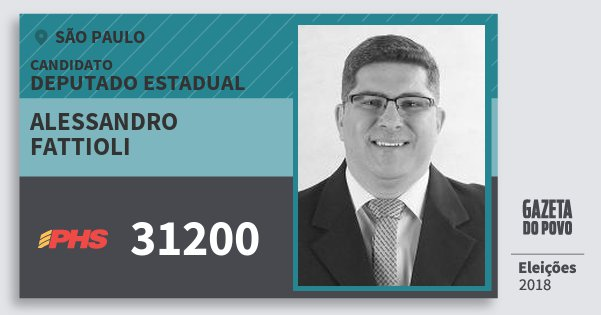 Santinho Alessandro Fattioli 31200 (PHS) Deputado Estadual | São Paulo | Eleições 2018