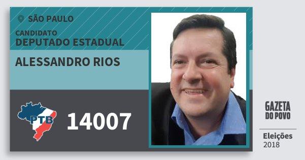 Santinho Alessandro Rios 14007 (PTB) Deputado Estadual | São Paulo | Eleições 2018