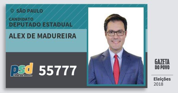 Santinho Alex de Madureira 55777 (PSD) Deputado Estadual   São Paulo   Eleições 2018